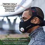 AIRTHLETIC® AtemmaskeTraining Mask mit 12 Ventilkappen [6 schwarz & 6 weiß] und Kopfriemen für extra Halt - Deutsche Marke - 4