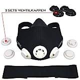 AIRTHLETIC® AtemmaskeTraining Mask mit 12 Ventilkappen [6 schwarz & 6 weiß] und Kopfriemen für extra Halt - Deutsche Marke - 5